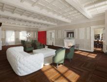 Rendering interni, ristrutturazione di palazzo storico
